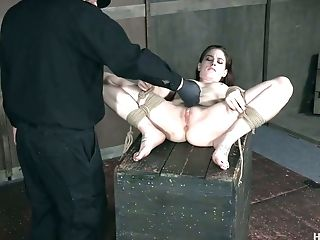 BDSM, Bondage, Boobless, Brunette, Close Up, Dungeon, Fingering, Hairy, Moaning, Panties,
