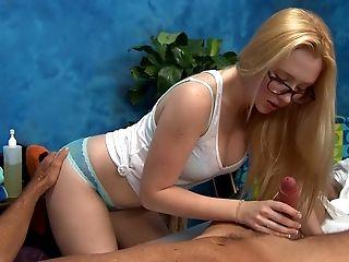 Babe, Blonde, Blowjob, Cute, Glasses, Handjob, Long Hair, Massage, Natural Tits, Sexy,