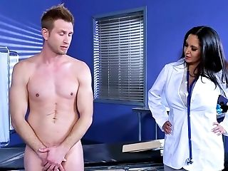 Big Ass, Big Tits, Blowjob, Brunette, Clinic, Cum In Mouth, Cumshot, Dentist, Desk, Doctor,