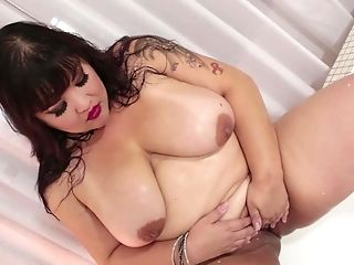 Bathroom, BBW, Big Natural Tits, Big Tits, Brunette, Chubby, Ethnic, Gangbang, Hardcore, HD,