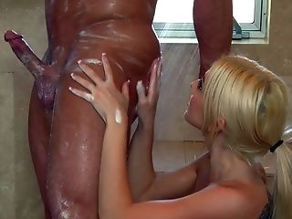 Big Tits, Blonde, Christie Stevens, Handjob, HD, Jerking, Massage, Nuru, Shower, Tattoo,