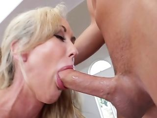 Ball Licking, Big Tits, Blonde, Blowjob, Cum In Mouth, Cumshot, Deepthroat, Dick, Fake Tits, HD,