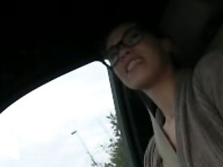 Blowjob, Car, Doggystyle, French, Glasses, HD, Money, POV, Public, Rough,