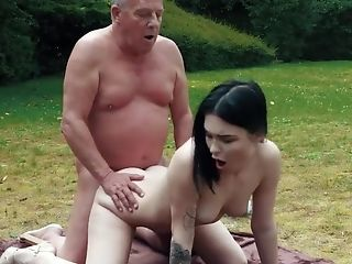 Amazing, Boobless, Brunette, Doggystyle, Girlfriend, Grandpa, Old And Young, Outdoor, Public, Romantic,