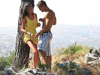 Blowjob, Brunette, Erotic, HD, Nessa Shine, Outdoor, Ukrainian,
