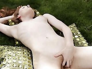 Boobless, Clit, Close Up, Hairy, Jerking, Masturbation, Outdoor, Redhead, Sex Toys, Solo,