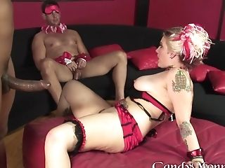 Big Black Cock, Blindfold, Blowjob, Bra, Candy Monroe, Couple, Cuckold, Doggystyle, Hardcore, Hunk,