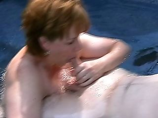 Blowjob, Dick, Felching, Horny, Jacuzzi, Mature, Pool, Redhead, Slut, Wife,