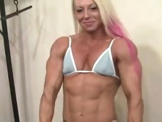 Blonde, Bodybuilder, Boobless, Female Bodybuilder, Mature, Muscular, Old, Petite,