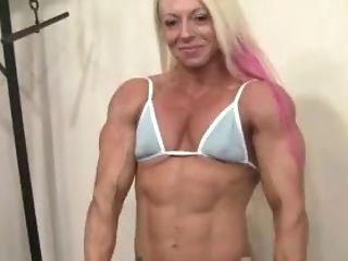 Blonde, Bodybuilder, Boobless, Female Bodybuilder, Mature, Muscular, Old, Petite,
